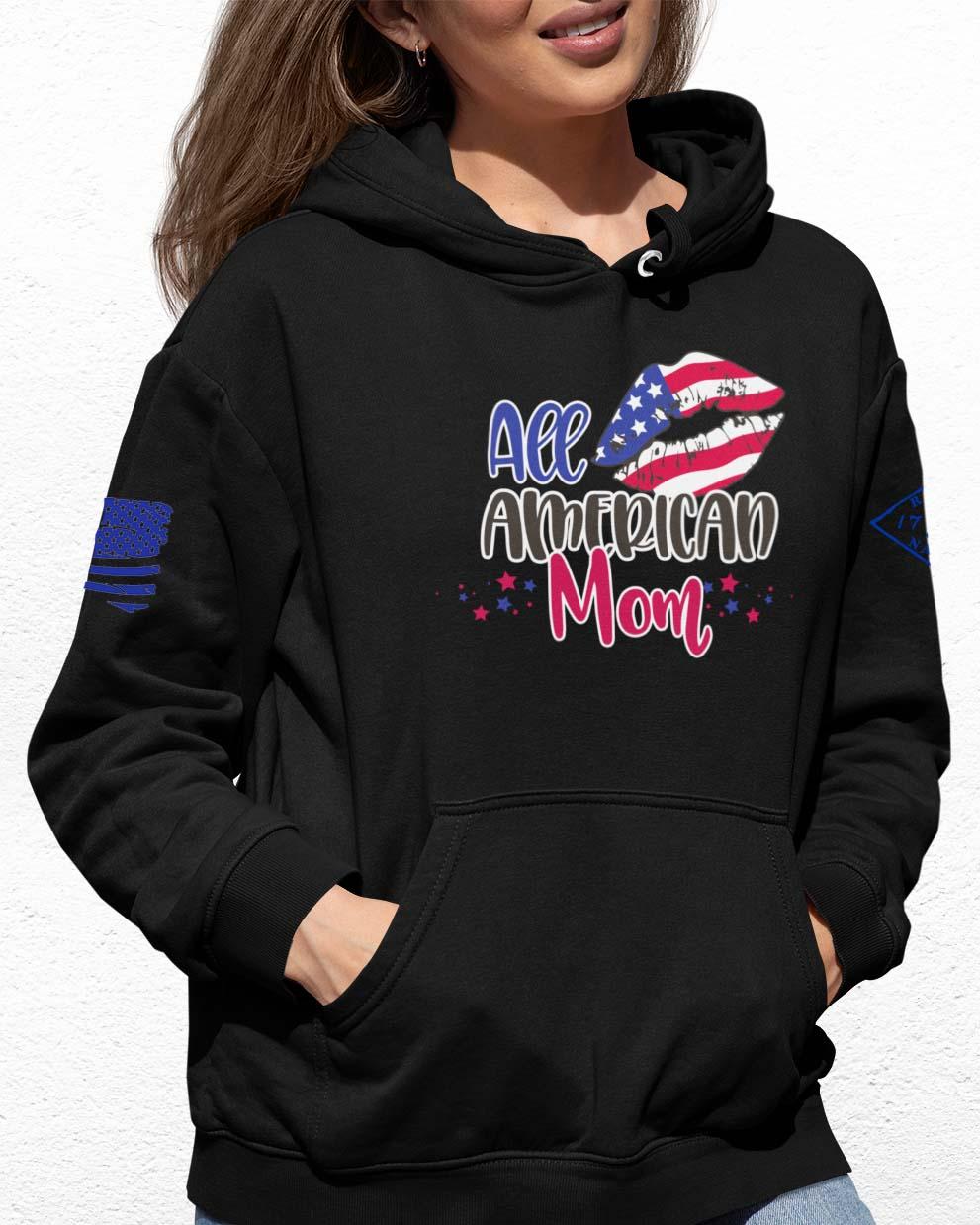 All American Mom on Black Hoodie