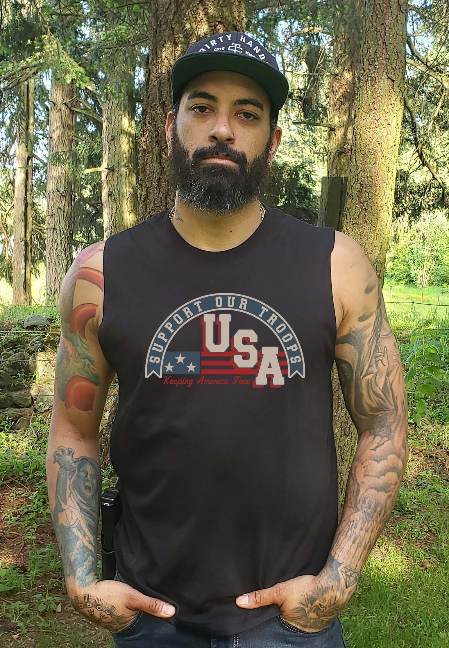 Support Our Troops in a Mens Black Tank