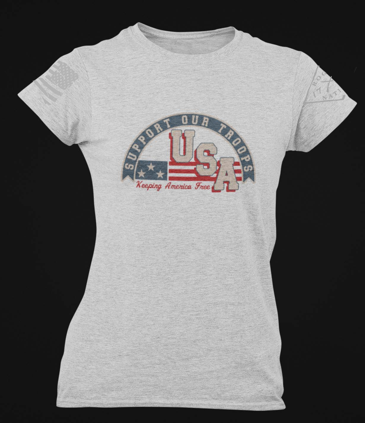 Support Our Troops on a Women's Light Heather Grey T-Shirt