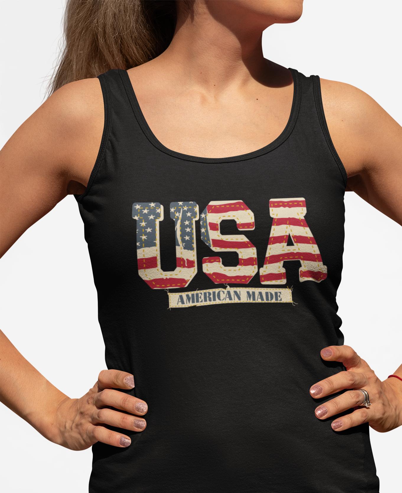 Vintage USA on a Women's Black Core Tank