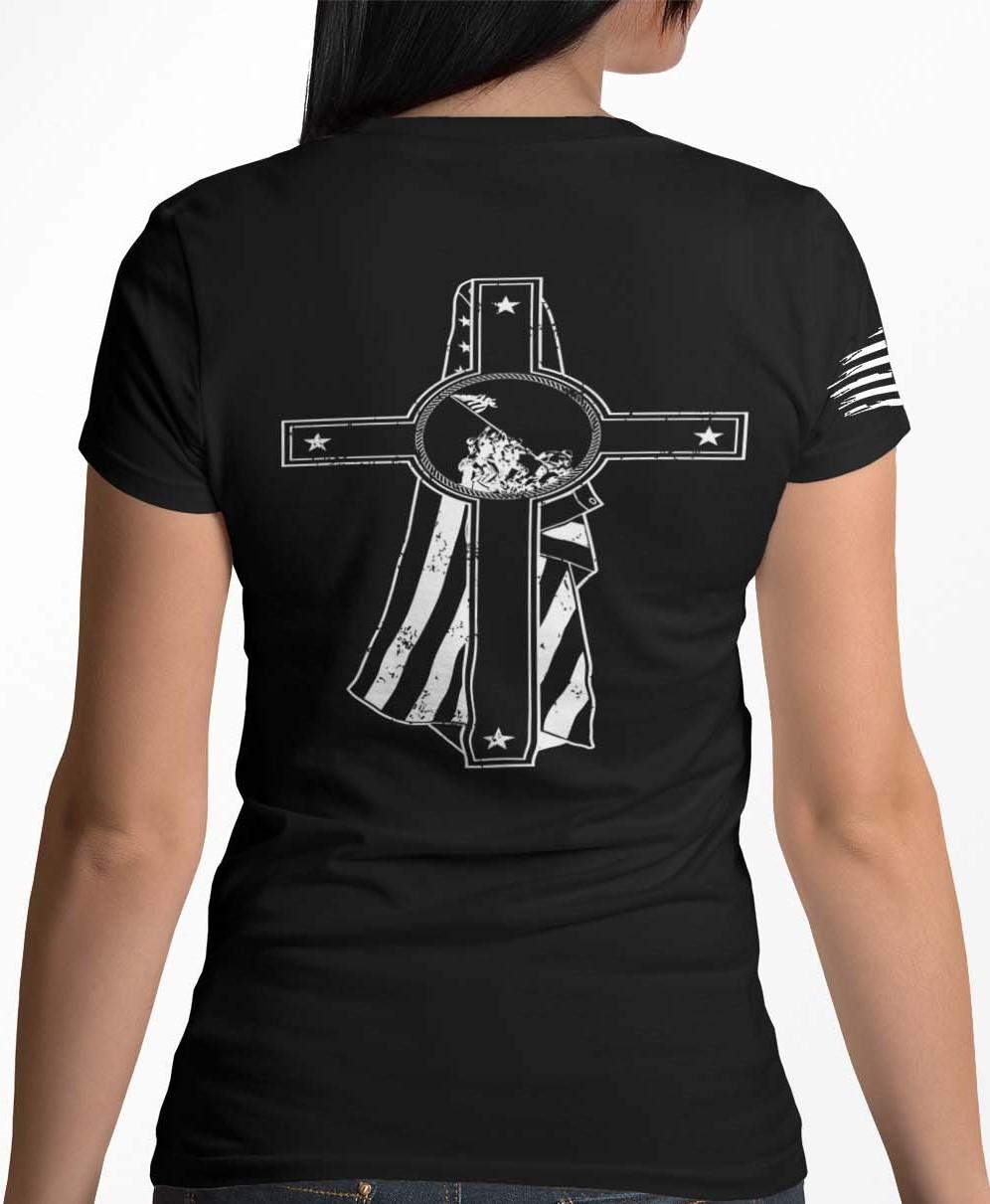 Memorial Day on a womens black tshirt