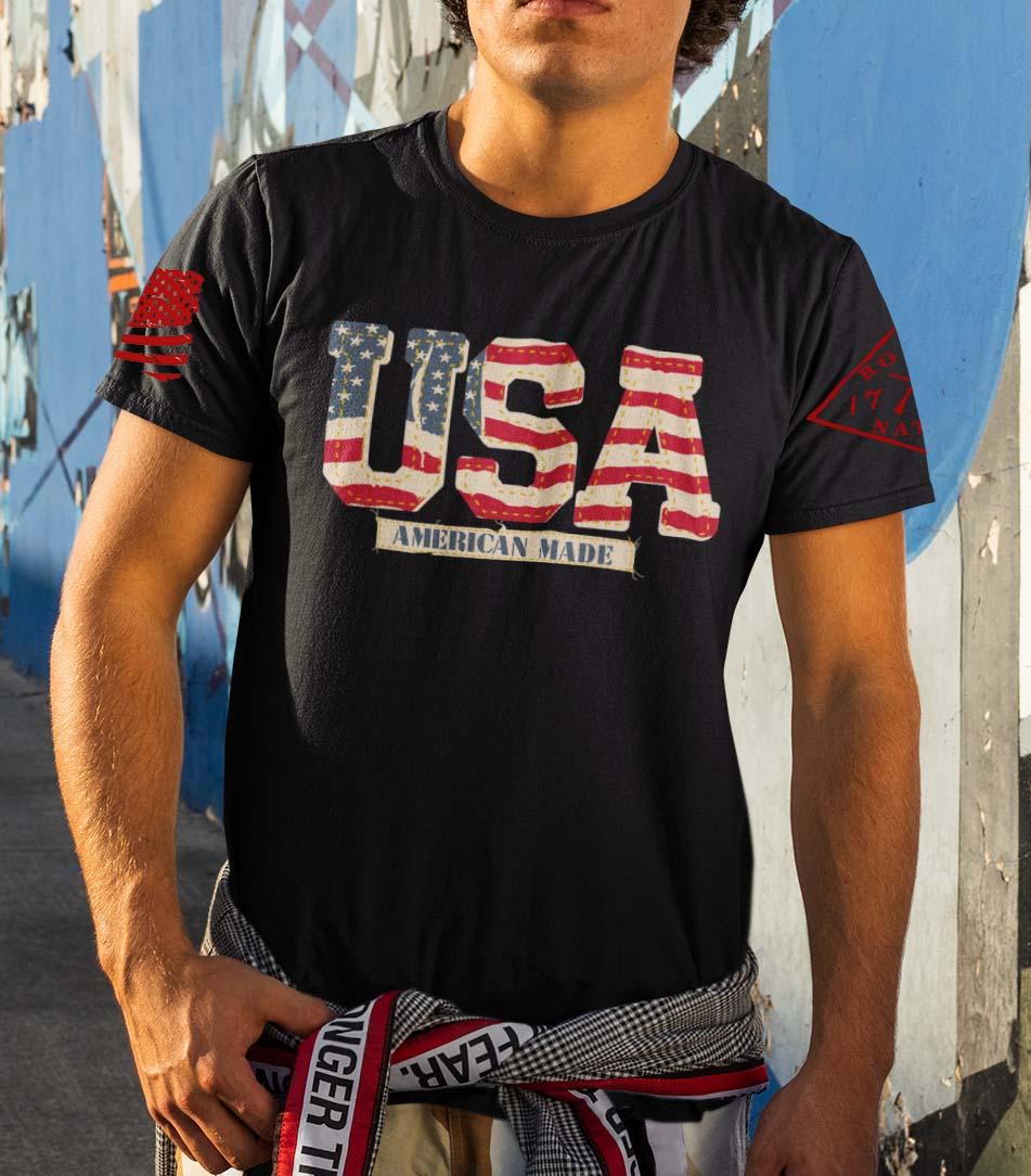Vintage USA on a Mens Black T-Shirt