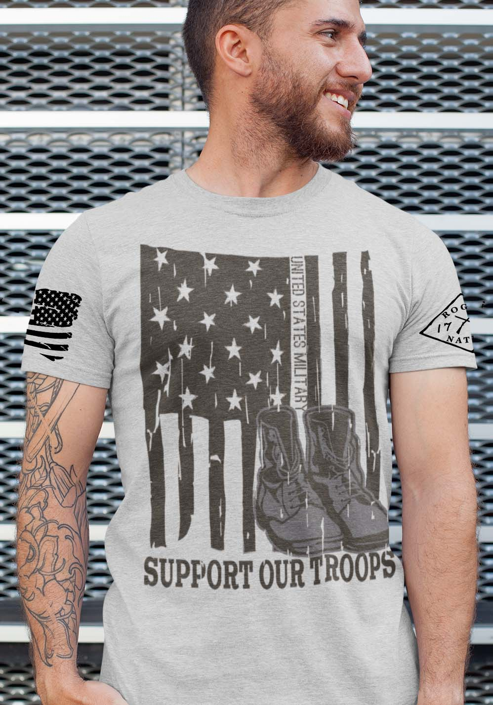 Support Our Troops on a Mens Light Heather Grey T-shirt. Tall Only