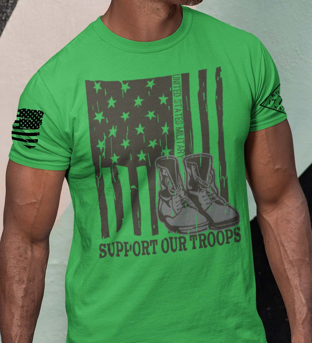 Support our US Troops Flag on a mens grass green shirt