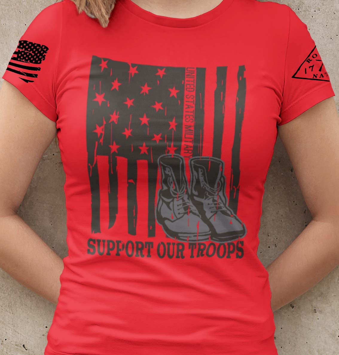 Support our US Troops Flag on a womens red T-shirt