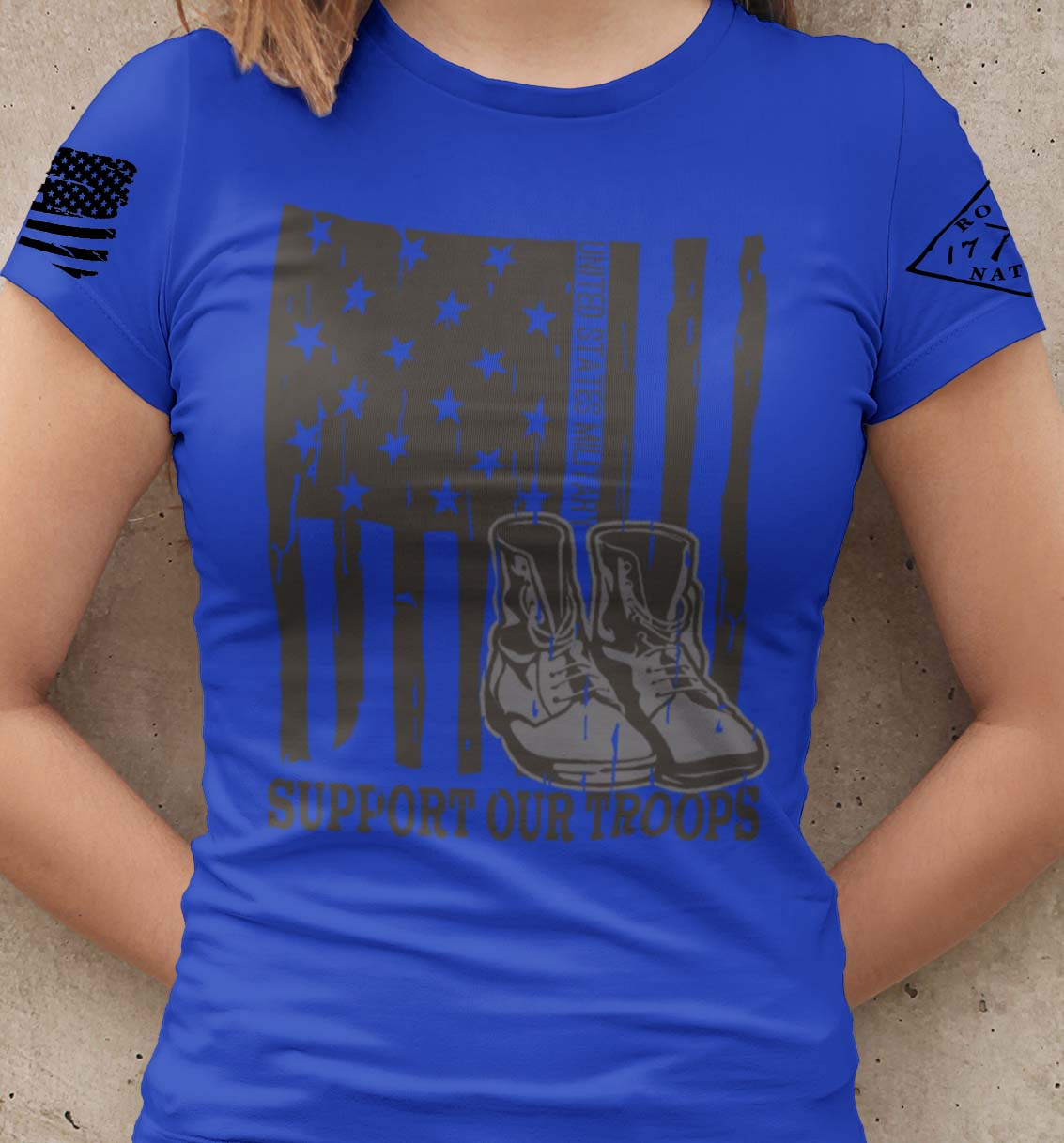 Support our US Troops Flag on a womens Royal Blue T-shirt