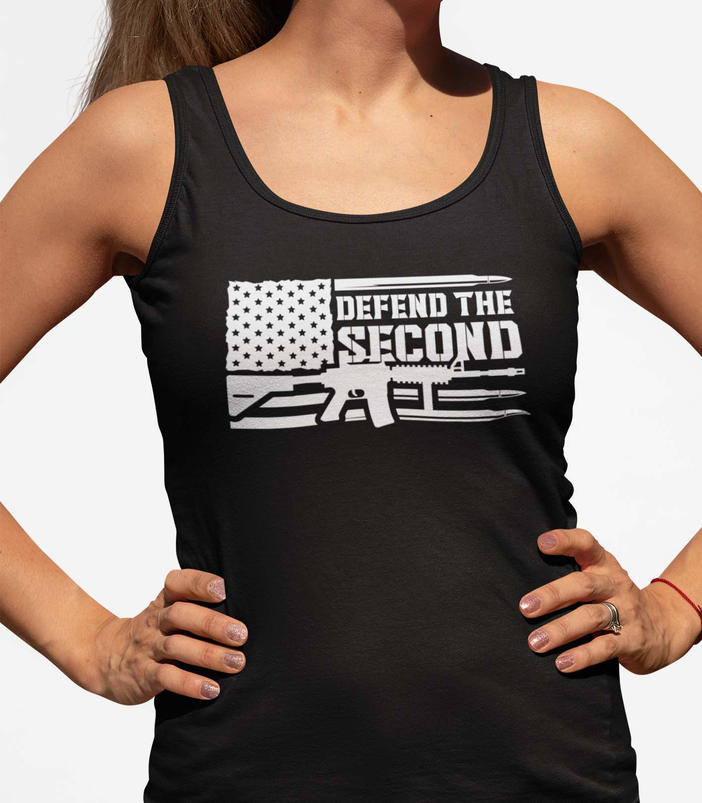 Defend the 2nd on a Womens Black Core Tank