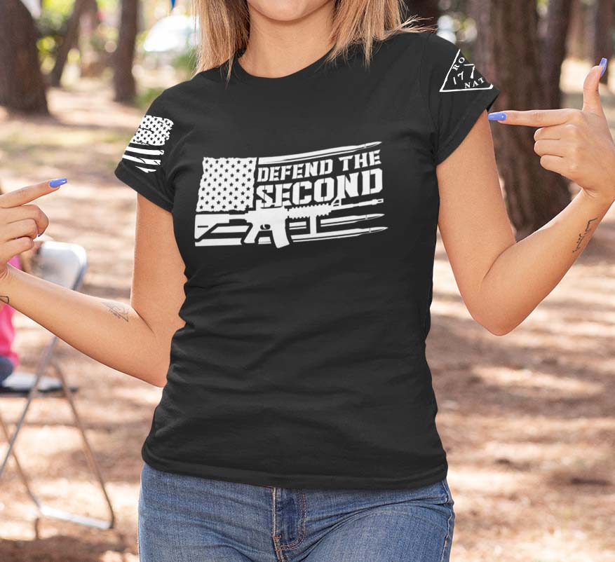 Defend the 2nd on a Womens Black T-Shirt