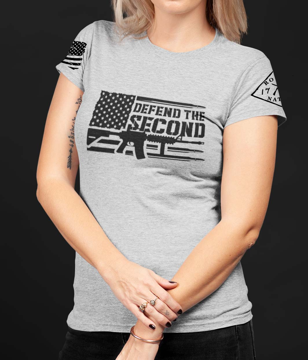 Defend the 2nd on a Womens Light Heather Grey T-Shirt
