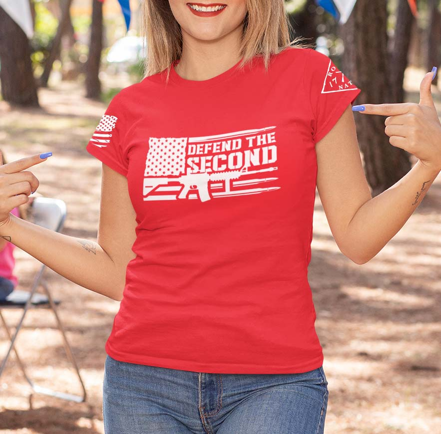 Defend the 2nd on a Womens Red T-Shirt