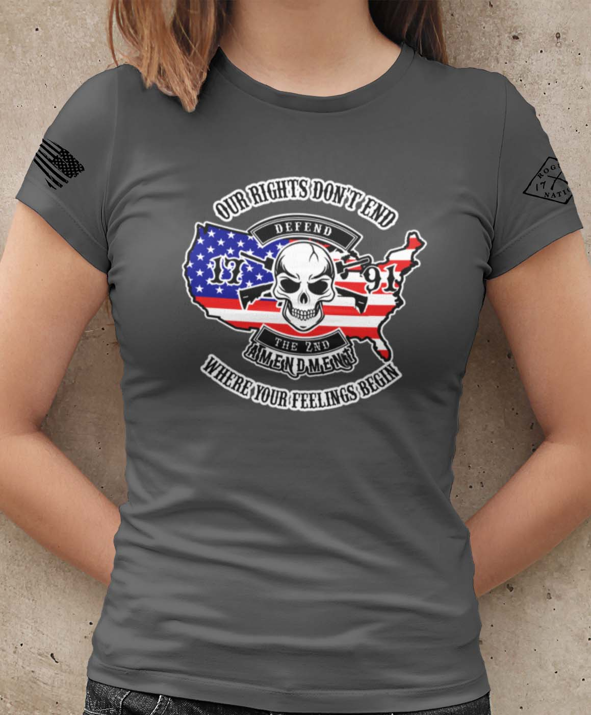 Our Rights Don't End Womens Tshirt in Charcoal