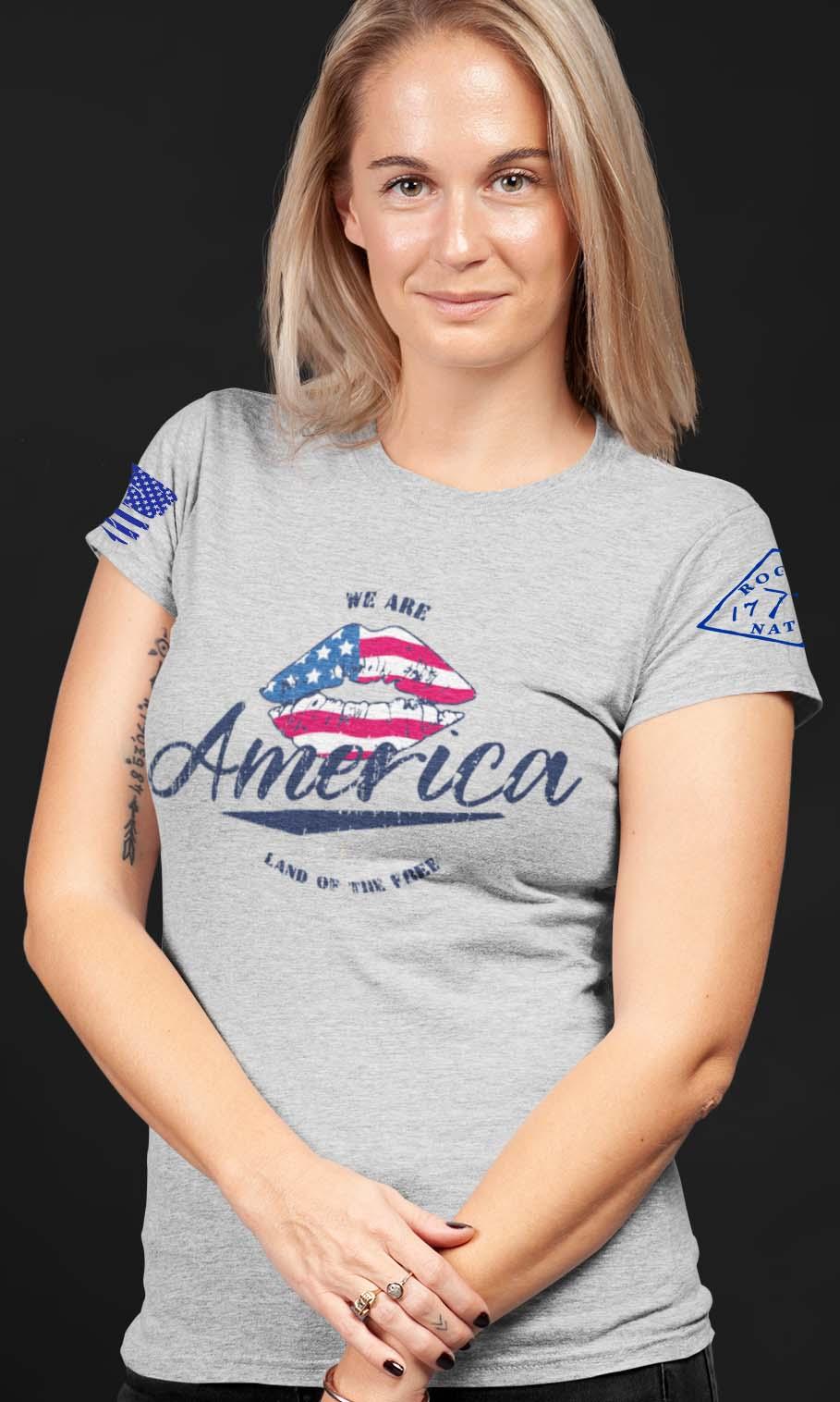 America Land of the Free Light Heather Grey T-Shirt Women's