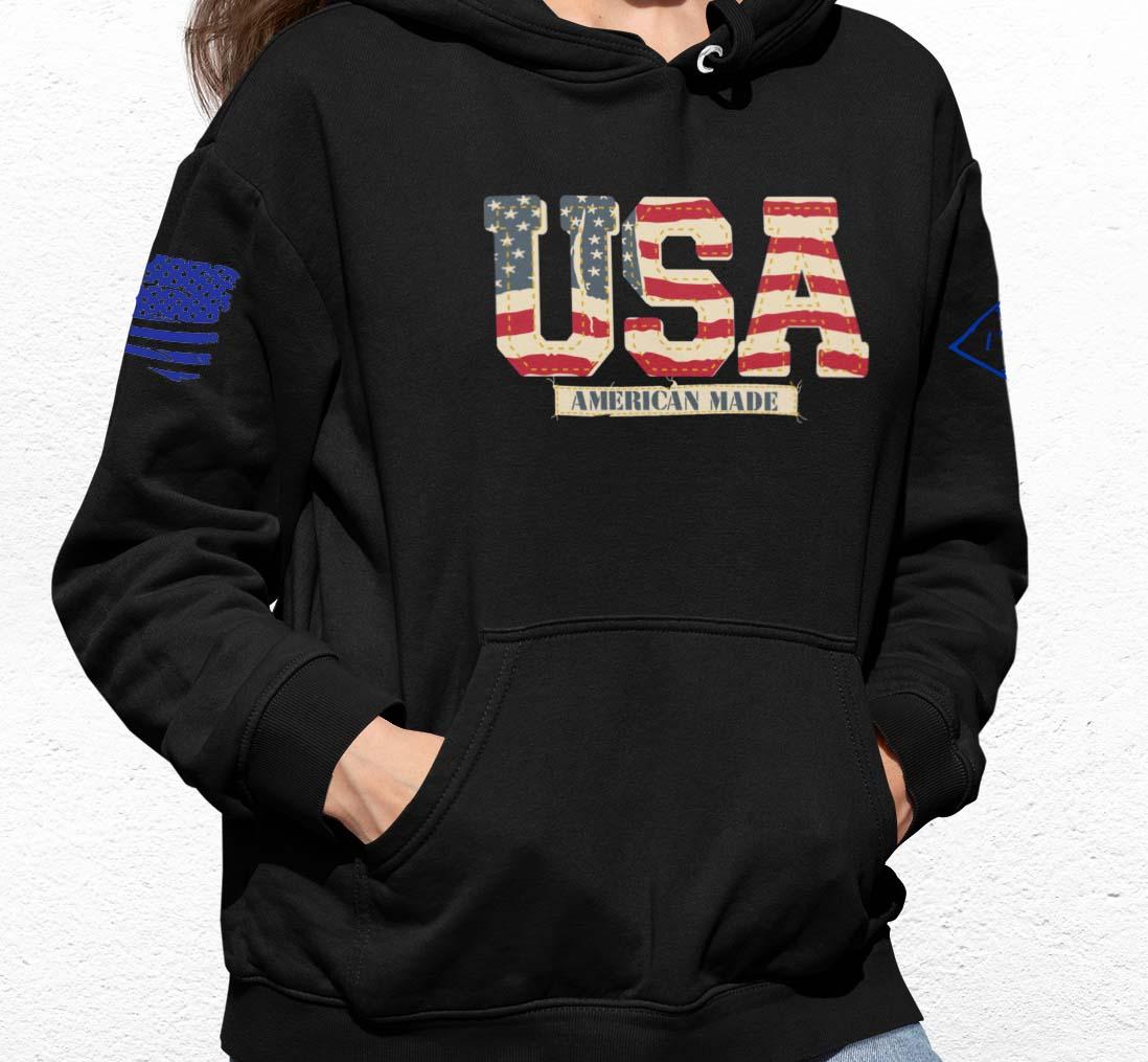 Vintage USA on a Black Hoodie