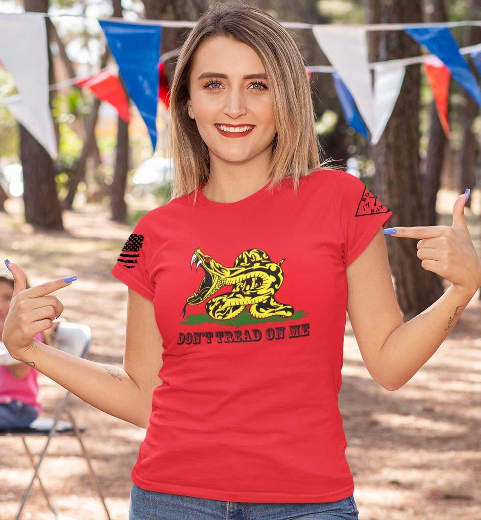 Modern Gadsden on a women's red t-shirt