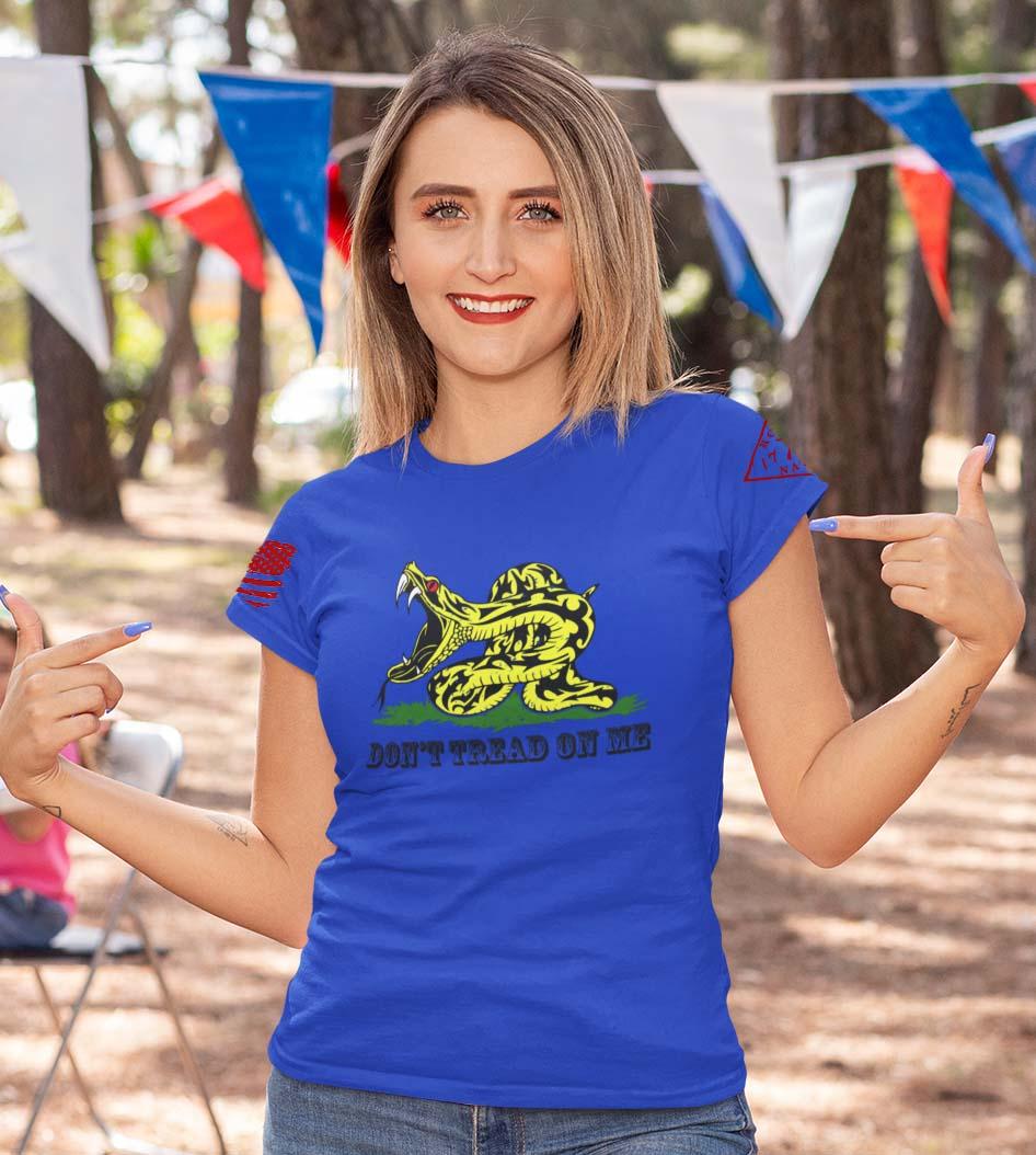 Modern Gadsden on a women's royal blue tshirt