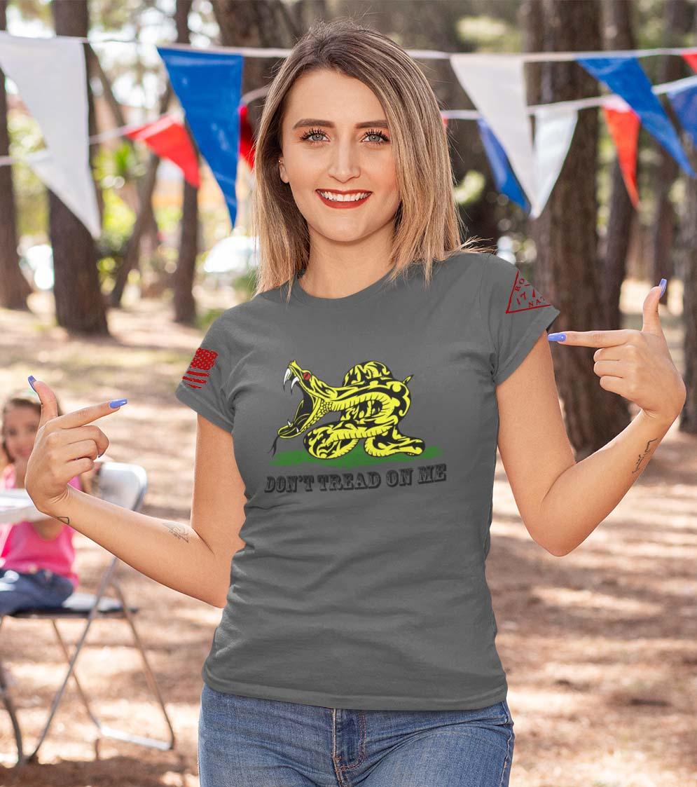 Modern Gadsden on a women's charcoal t-shirt