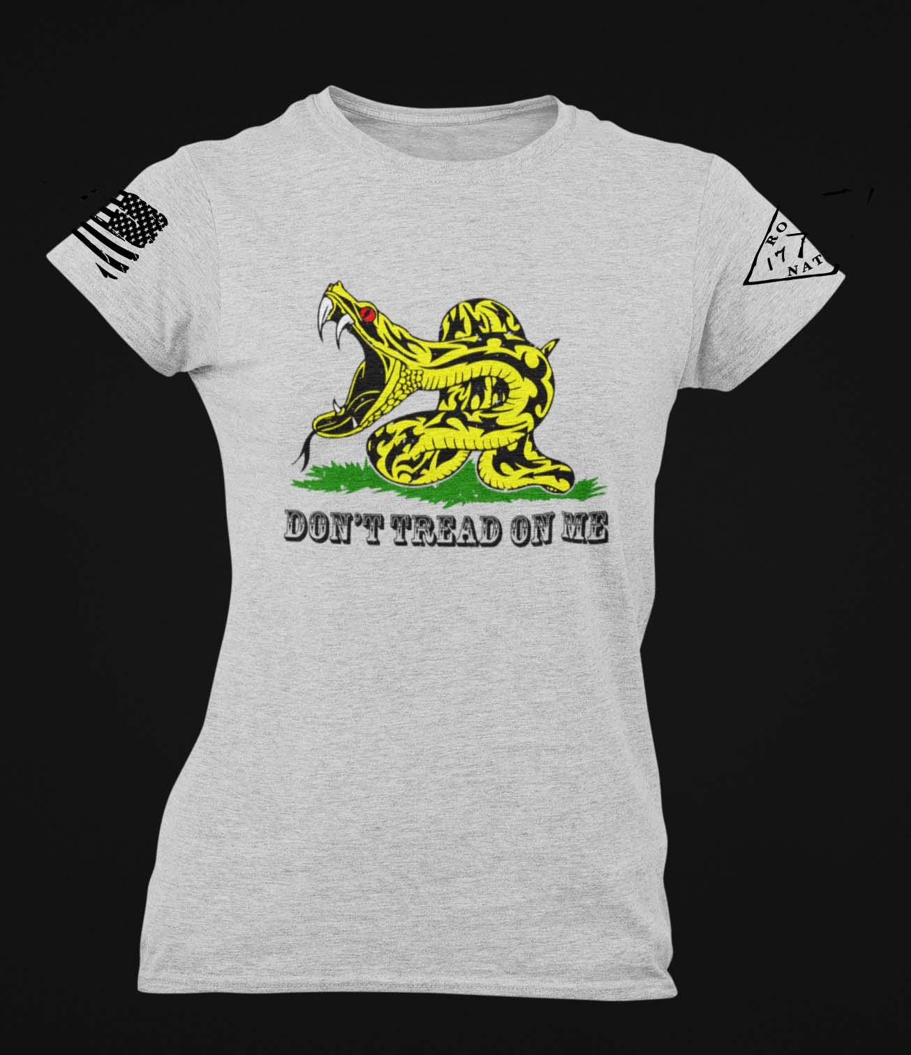 Modern Gadsden on a women's light heather grey t-shirt