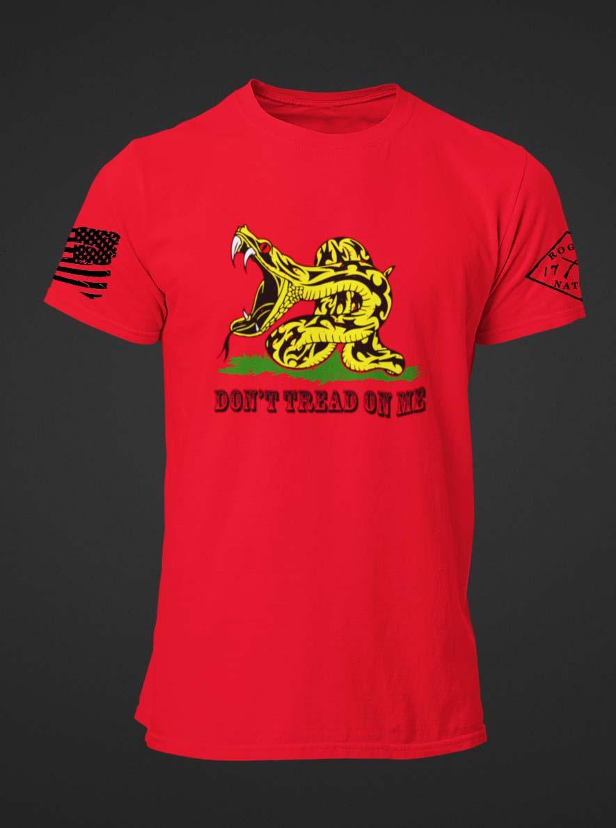 Modern Gadsden on a Men's Red T-Shirt