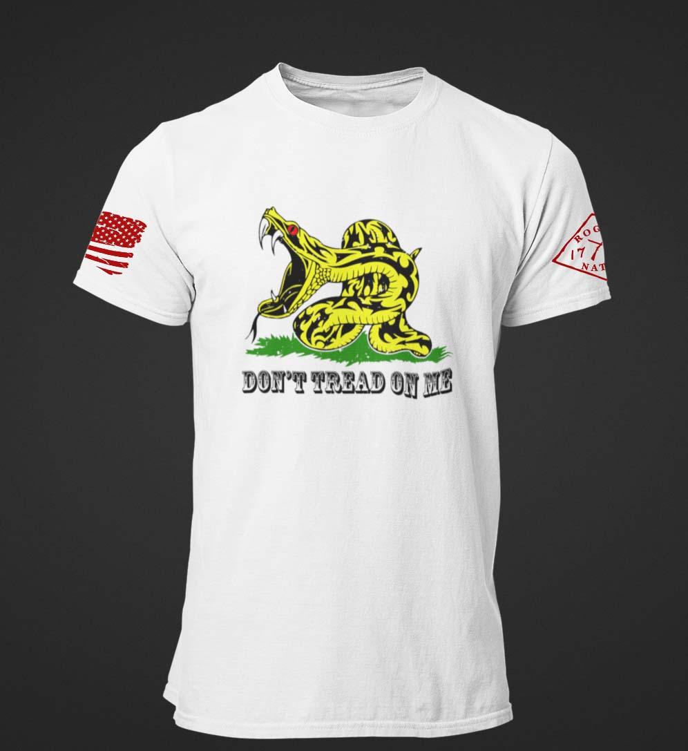 Modern Gadsden on a Men's White T-shirt