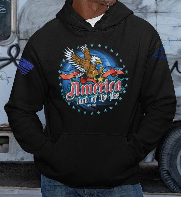 America Land of the Free Hoodie in Black