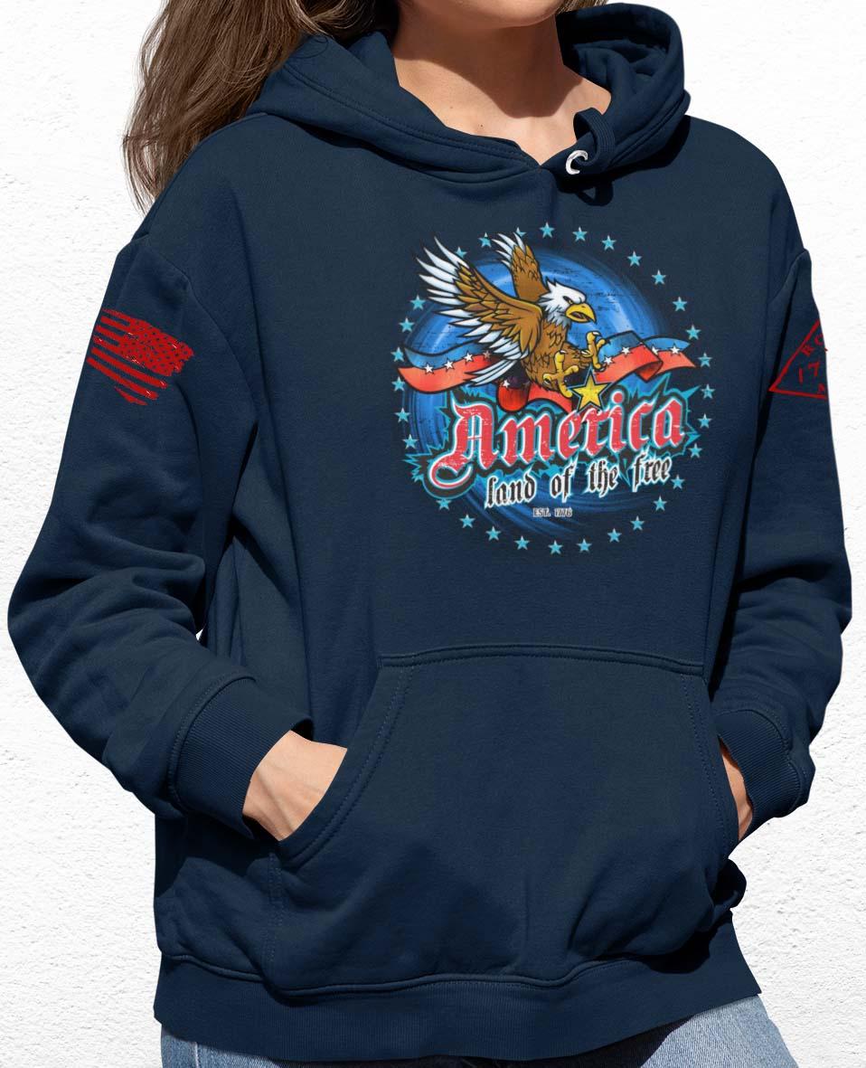 America Land of the Free Hoodie in Navy