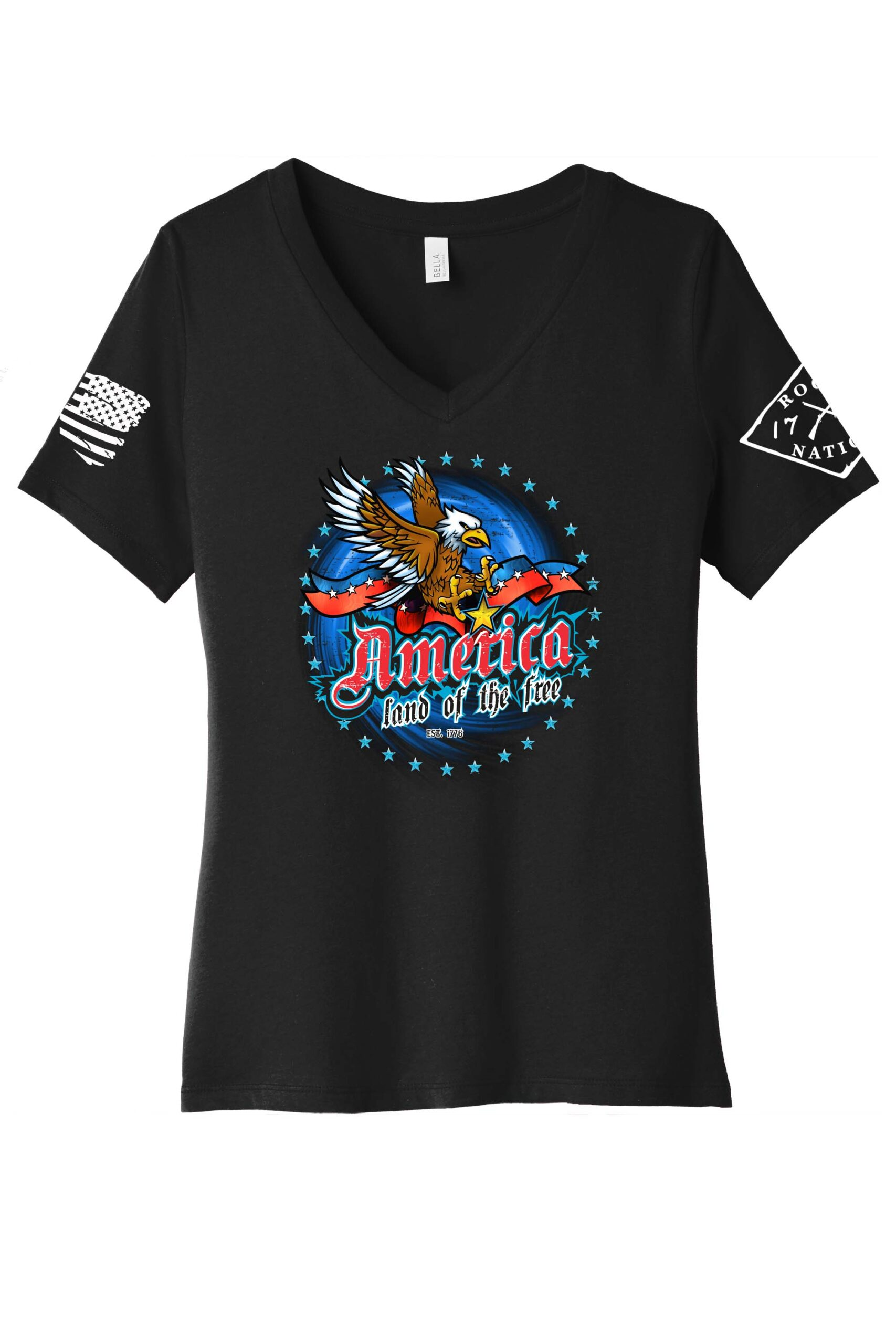America Land of the Free Vneck in Black