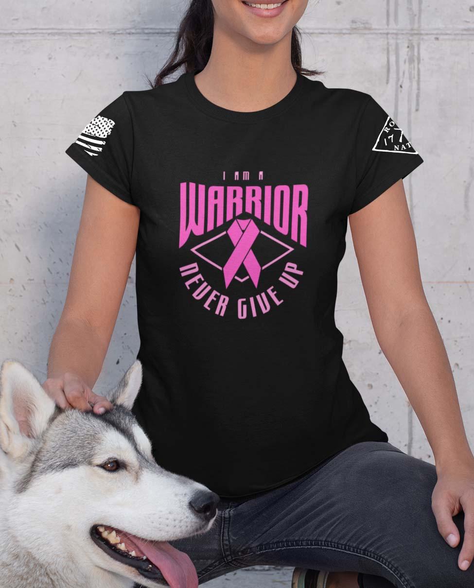 Pink Warrior on a Black T-Shirt