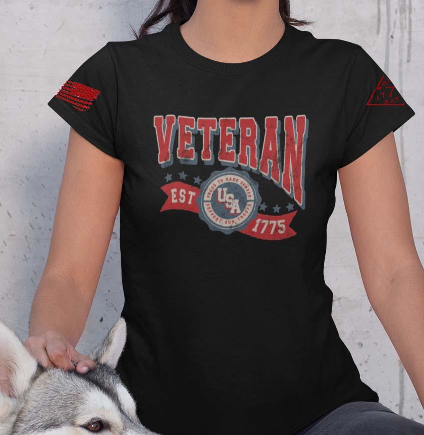 Veteran in the USA on a BlackT-Shirt Women's