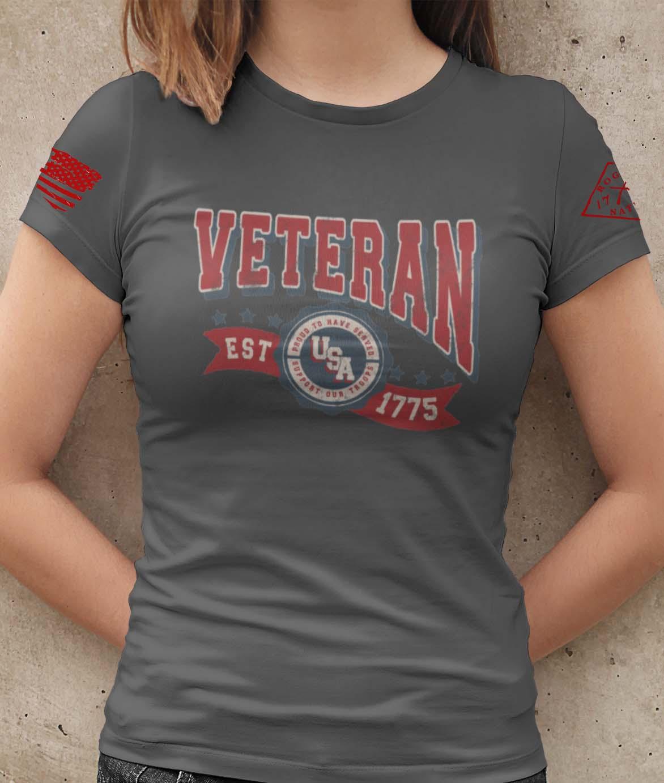 Veteran in the USA on a Cjarcoal T-Shirt Women's