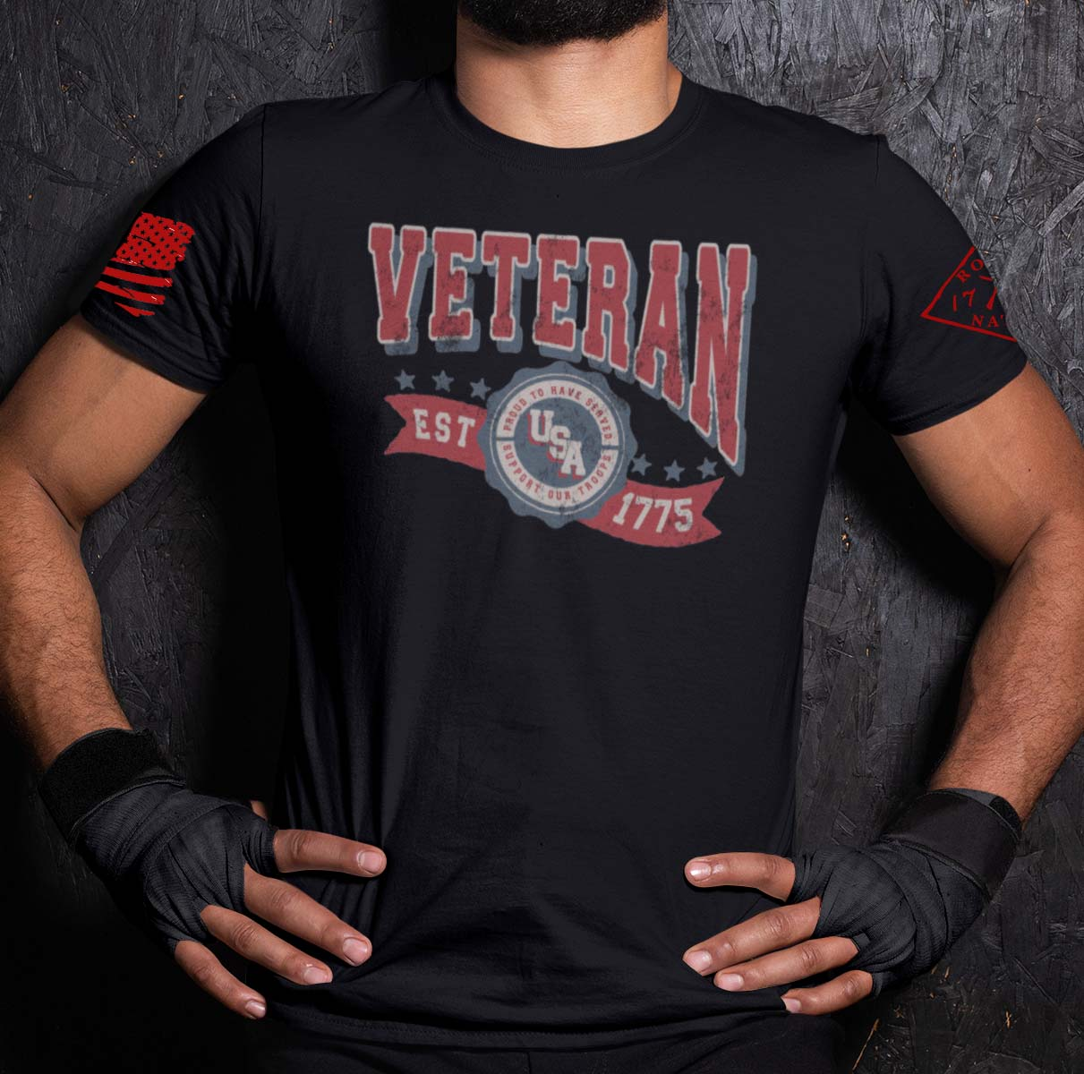 Veteran in the USA on a Black T-Shirt Men's