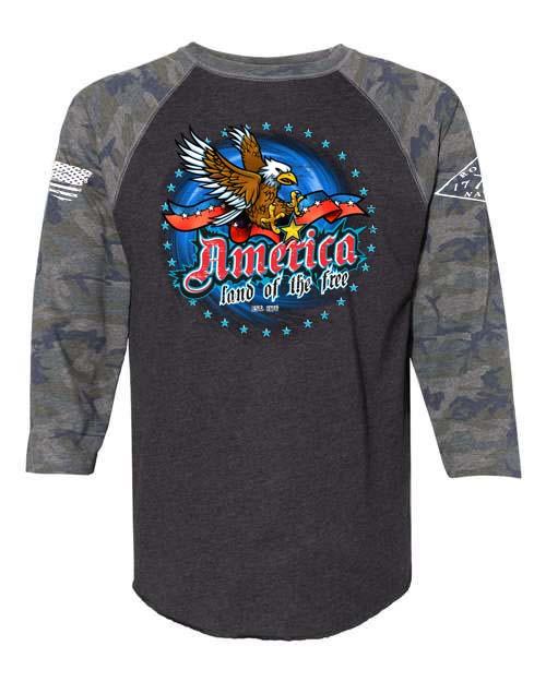 America Soaring Eagle Baseball Tee in Vintage Camo